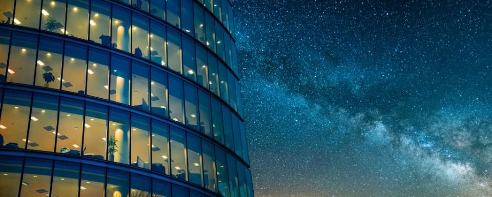 Website Banner Building and Milky Way